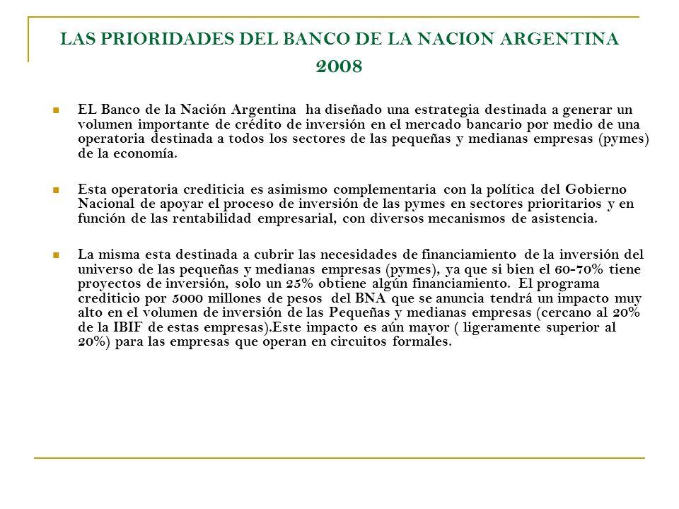 LAS PRIORIDADES DEL BANCO DE LA NACION ARGENTINA 2008 EL Banco de la Nación Argentina ha diseñado una estrategia destinada a generar un volumen importante de crédito de inversión en el mercado bancario por medio de una operatoria destinada a todos los sectores de las pequeñas y medianas empresas (pymes) de la economía.