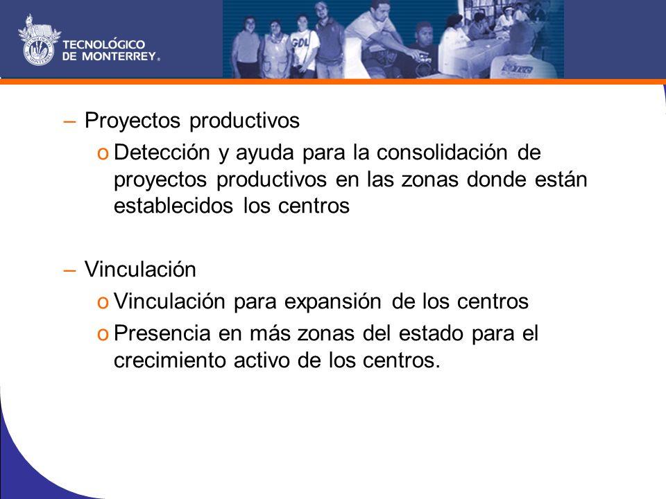 –Proyectos productivos oDetección y ayuda para la consolidación de proyectos productivos en las zonas donde están establecidos los centros –Vinculación oVinculación para expansión de los centros oPresencia en más zonas del estado para el crecimiento activo de los centros.