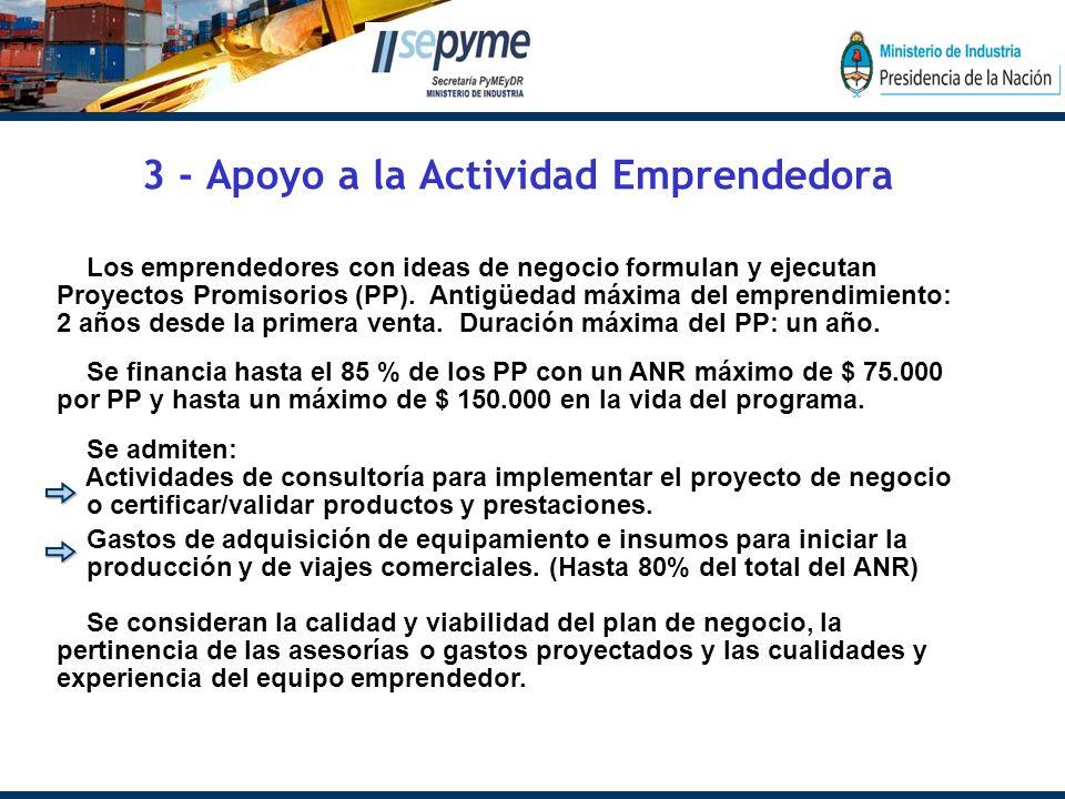 3 - Apoyo a la Actividad Emprendedora Los emprendedores con ideas de negocio formulan y ejecutan Proyectos Promisorios (PP).
