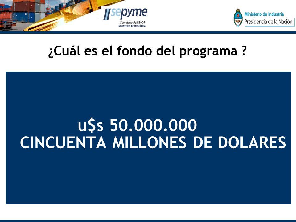 ¿Cuál es el fondo del programa u$s 50.000.000 CINCUENTA MILLONES DE DOLARES