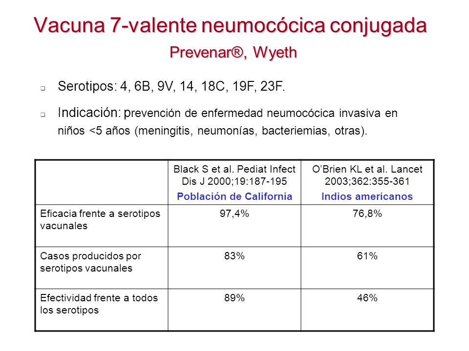 Vacuna 7-valente neumocócica conjugada Prevenar®, Wyeth Black S et al. Pediat Infect Dis J 2000;19:187-195 Población de California OBrien KL et al. La