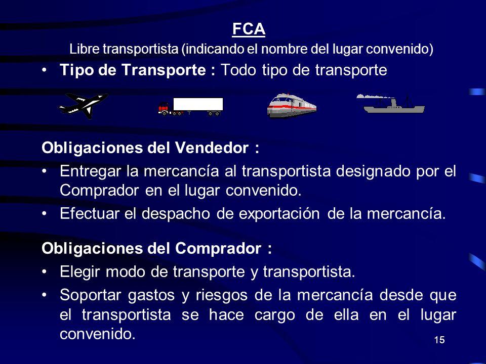 15 FCA Libre transportista (indicando el nombre del lugar convenido) Tipo de Transporte : Todo tipo de transporte Obligaciones del Vendedor : Entregar
