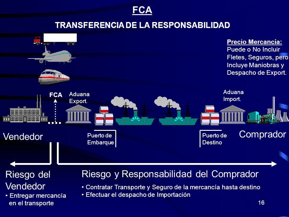 16 FCA TRANSFERENCIA DE LA RESPONSABILIDAD Riesgo y Responsabilidad del Comprador Contratar Transporte y Seguro de la mercancía hasta destino Efectuar