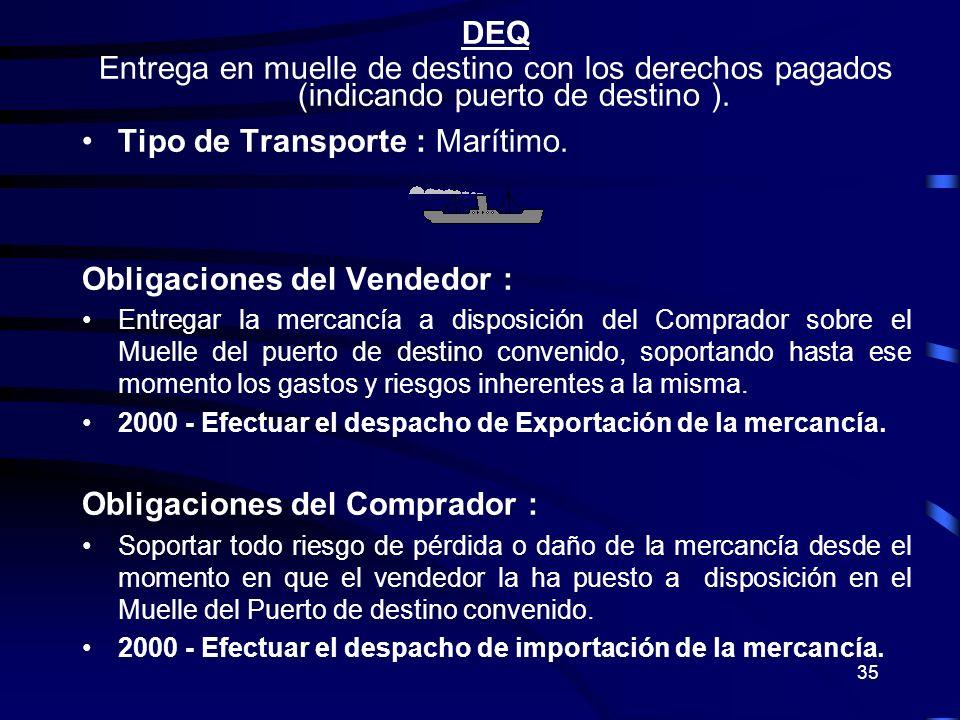 35 DEQ Entrega en muelle de destino con los derechos pagados (indicando puerto de destino ). Tipo de Transporte : Marítimo. Obligaciones del Vendedor