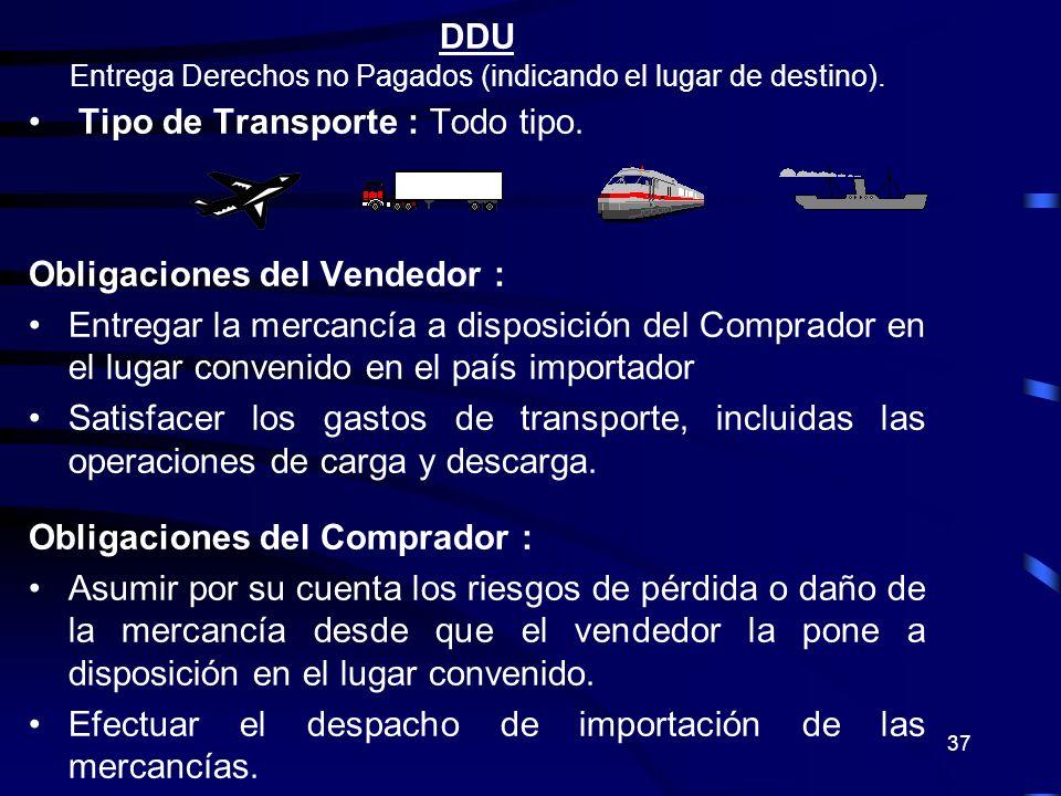 37 DDU Entrega Derechos no Pagados (indicando el lugar de destino). Tipo de Transporte : Todo tipo. Obligaciones del Vendedor : Entregar la mercancía
