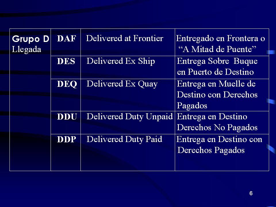 27 CPT TRANSFERENCIA DE LA RESPONSABILIDAD Riesgo y Responsabilidad del Comprador Contratar seguro hasta punto de destino Efectuar el despacho de Importación Vendedor Comprador Puerto de Embarque Puerto de Destino Aduana Export.