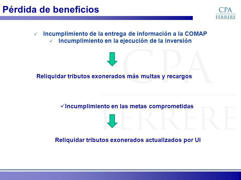 Pérdida de beneficios Incumplimiento de la entrega de información a la COMAP Incumplimiento en la ejecución de la inversión Reliquidar tributos exoner
