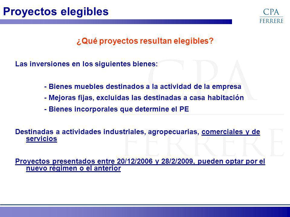 Proyectos elegibles ¿Qué proyectos resultan elegibles? Las inversiones en los siguientes bienes: - Bienes muebles destinados a la actividad de la empr