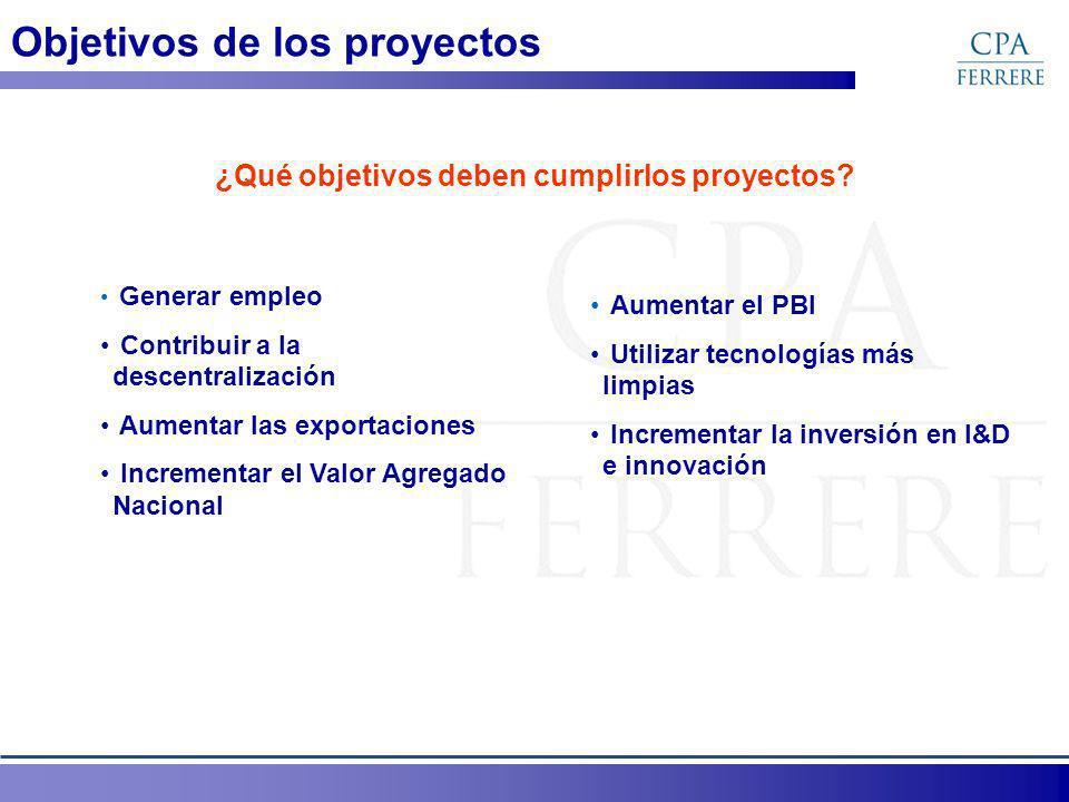 Objetivos de los proyectos ¿Qué objetivos deben cumplirlos proyectos? Generar empleo Contribuir a la descentralización Aumentar las exportaciones Incr
