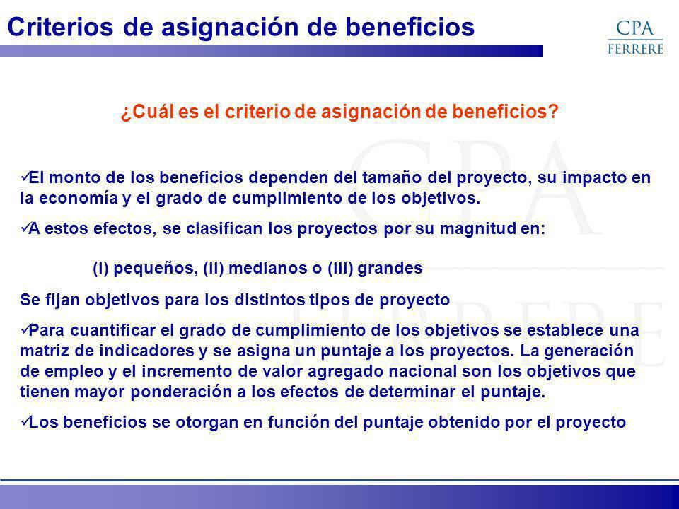 Criterios de asignación de beneficios ¿Cuál es el criterio de asignación de beneficios? El monto de los beneficios dependen del tamaño del proyecto, s