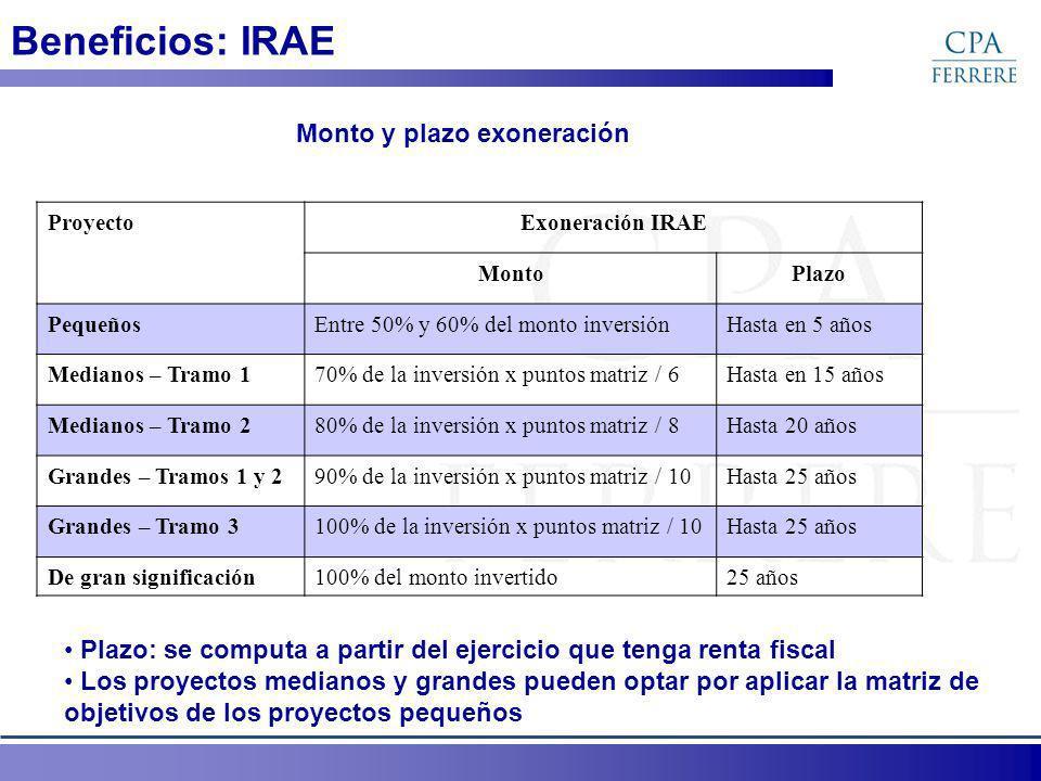 Beneficios: IRAE ProyectoExoneración IRAE MontoPlazo PequeñosEntre 50% y 60% del monto inversiónHasta en 5 años Medianos – Tramo 170% de la inversión