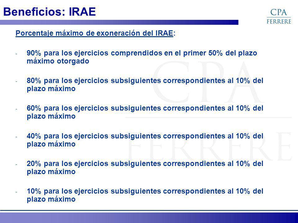 Beneficios: IRAE Porcentaje máximo de exoneración del IRAE: - 90% para los ejercicios comprendidos en el primer 50% del plazo máximo otorgado - 80% para los ejercicios subsiguientes correspondientes al 10% del plazo máximo - 60% para los ejercicios subsiguientes correspondientes al 10% del plazo máximo - 40% para los ejercicios subsiguientes correspondientes al 10% del plazo máximo - 20% para los ejercicios subsiguientes correspondientes al 10% del plazo máximo - 10% para los ejercicios subsiguientes correspondientes al 10% del plazo máximo