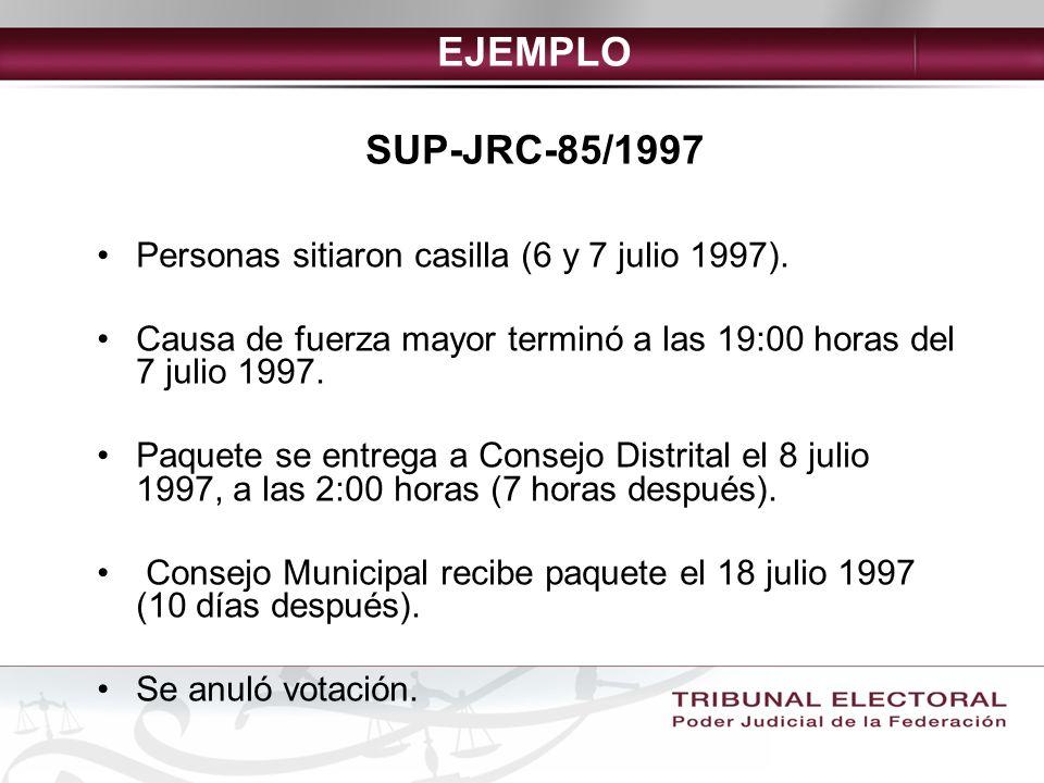 EJEMPLO SUP-JRC-85/1997 Personas sitiaron casilla (6 y 7 julio 1997).