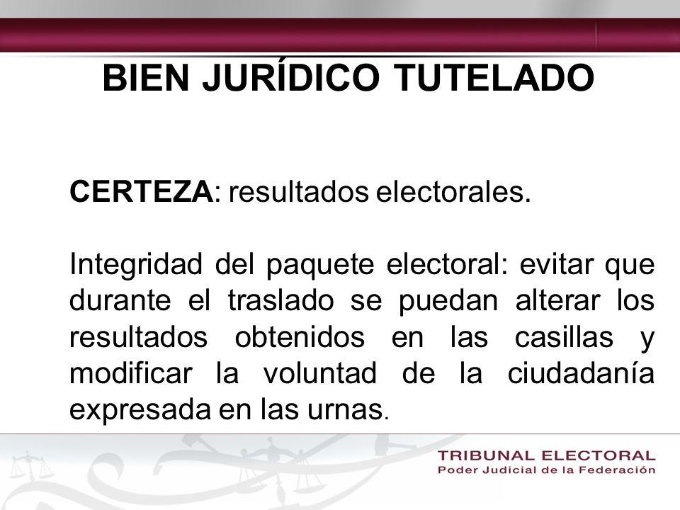 BIEN JURÍDICO TUTELADO CERTEZA: resultados electorales.