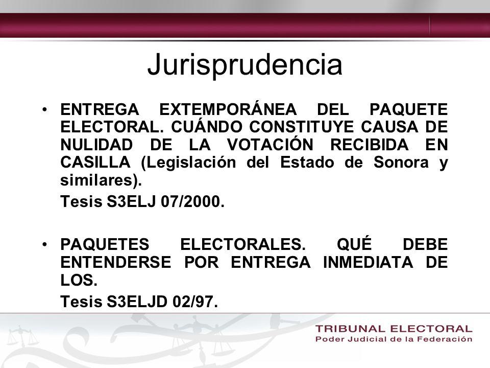 Jurisprudencia ENTREGA EXTEMPORÁNEA DEL PAQUETE ELECTORAL.