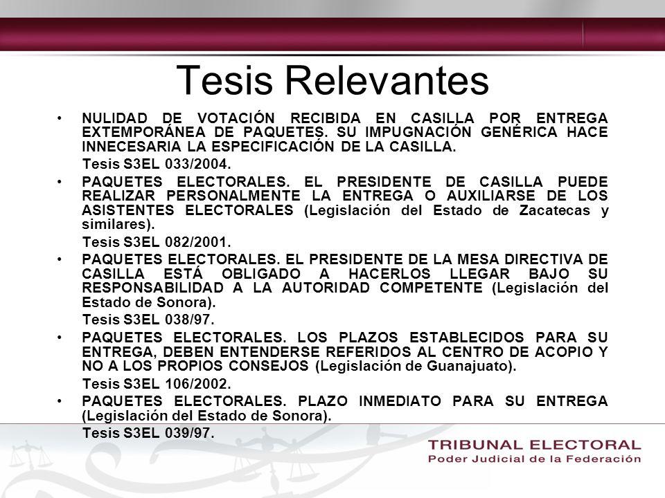 Tesis Relevantes NULIDAD DE VOTACIÓN RECIBIDA EN CASILLA POR ENTREGA EXTEMPORÁNEA DE PAQUETES.