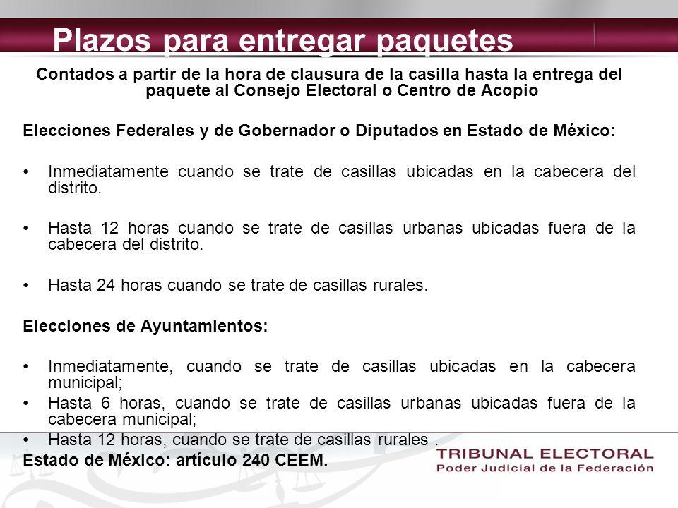 Plazos para entregar paquetes Contados a partir de la hora de clausura de la casilla hasta la entrega del paquete al Consejo Electoral o Centro de Acopio Elecciones Federales y de Gobernador o Diputados en Estado de México: Inmediatamente cuando se trate de casillas ubicadas en la cabecera del distrito.