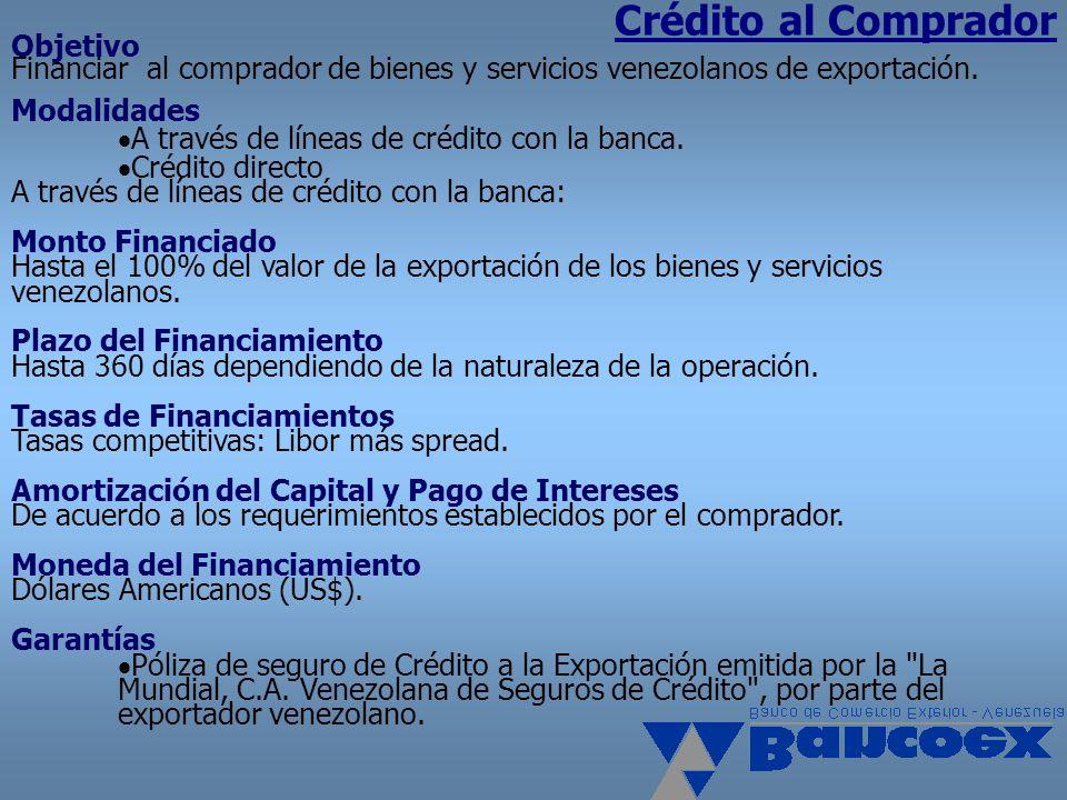 Crédito al Comprador Objetivo Financiar al comprador de bienes y servicios venezolanos de exportación. Modalidades A través de líneas de crédito con l