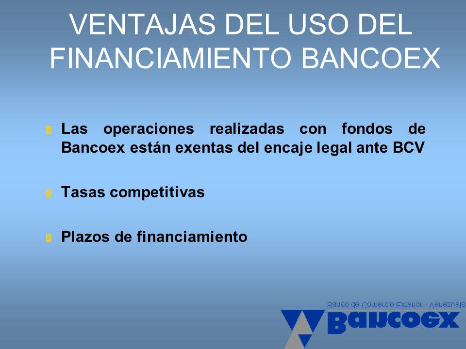 VENTAJAS DEL USO DEL FINANCIAMIENTO BANCOEX Las operaciones realizadas con fondos de Bancoex están exentas del encaje legal ante BCV Tasas competitiva