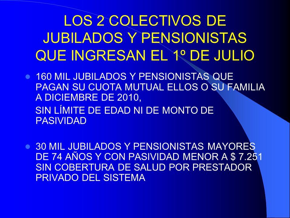6 desde 1º de julio de 2012: INCORPORACIÓN AHORA DE UNOS 30 MIL JUBILADOS Y PENSIONISTAS SIN COBERTURA DE SALUD BRINDADA POR UN PRESTADOR PRIVADO QUE INTEGRE EL SISTEMA ( ART.