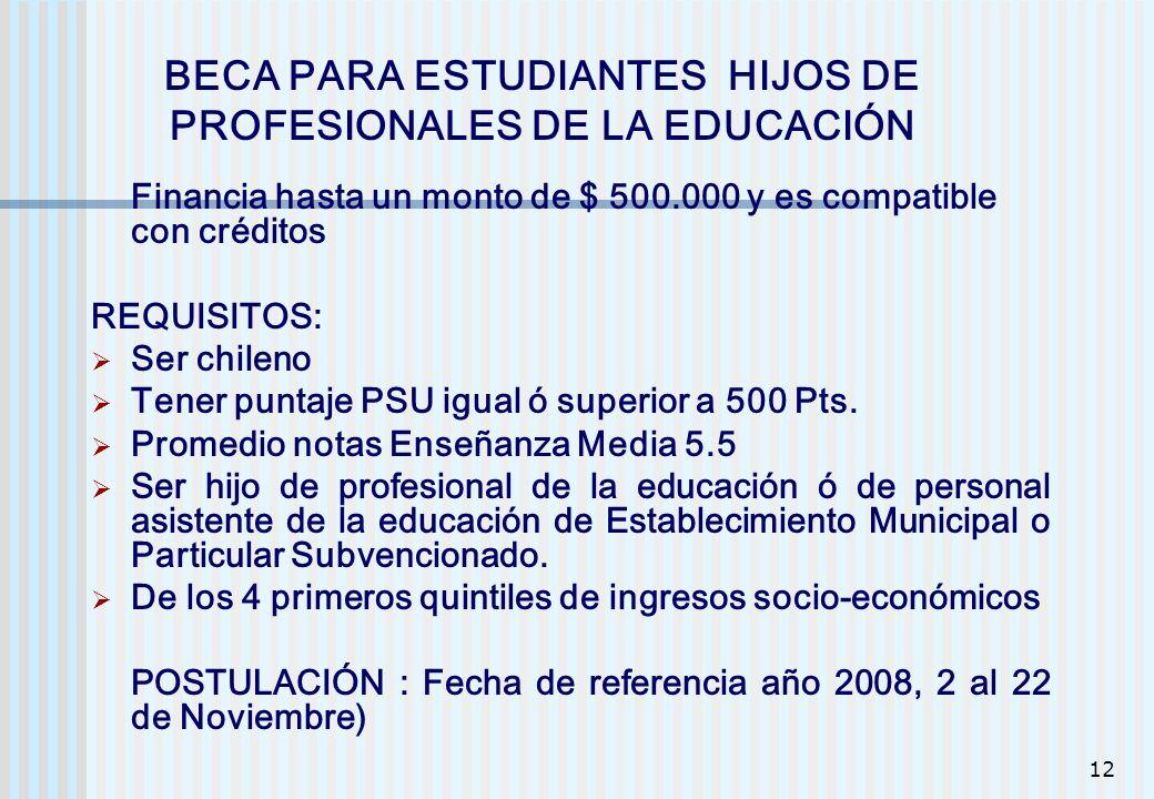 12 Financia hasta un monto de $ 500.000 y es compatible con créditos REQUISITOS: Ser chileno Tener puntaje PSU igual ó superior a 500 Pts. Promedio no