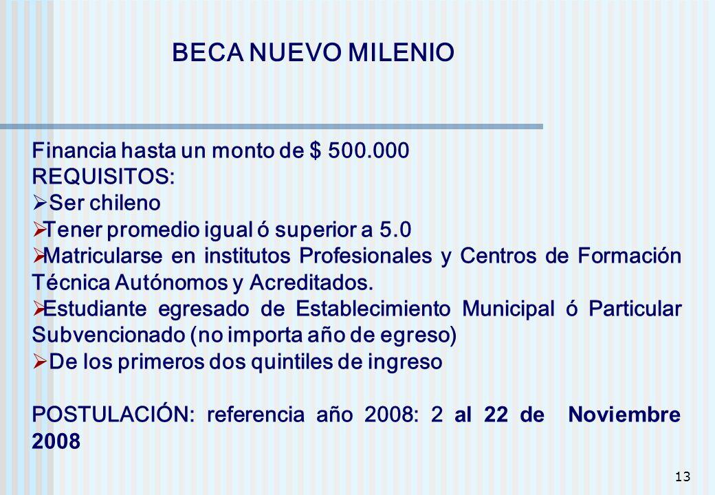 13 BECA NUEVO MILENIO Financia hasta un monto de $ 500.000 REQUISITOS: Ser chileno Tener promedio igual ó superior a 5.0 Matricularse en institutos Pr