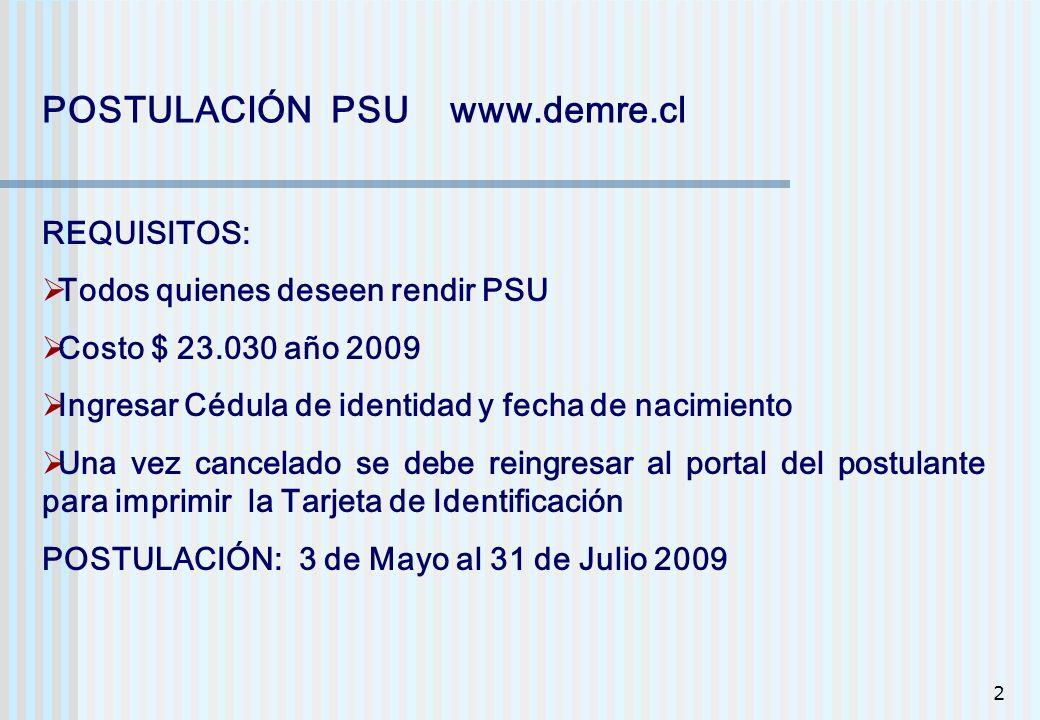 2 POSTULACIÓN PSU www.demre.cl REQUISITOS: Todos quienes deseen rendir PSU Costo $ 23.030 año 2009 Ingresar Cédula de identidad y fecha de nacimiento