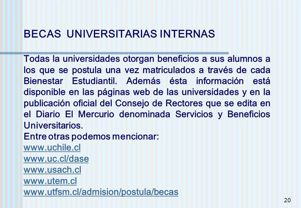 20 BECAS UNIVERSITARIAS INTERNAS Todas la universidades otorgan beneficios a sus alumnos a los que se postula una vez matriculados a través de cada Bi