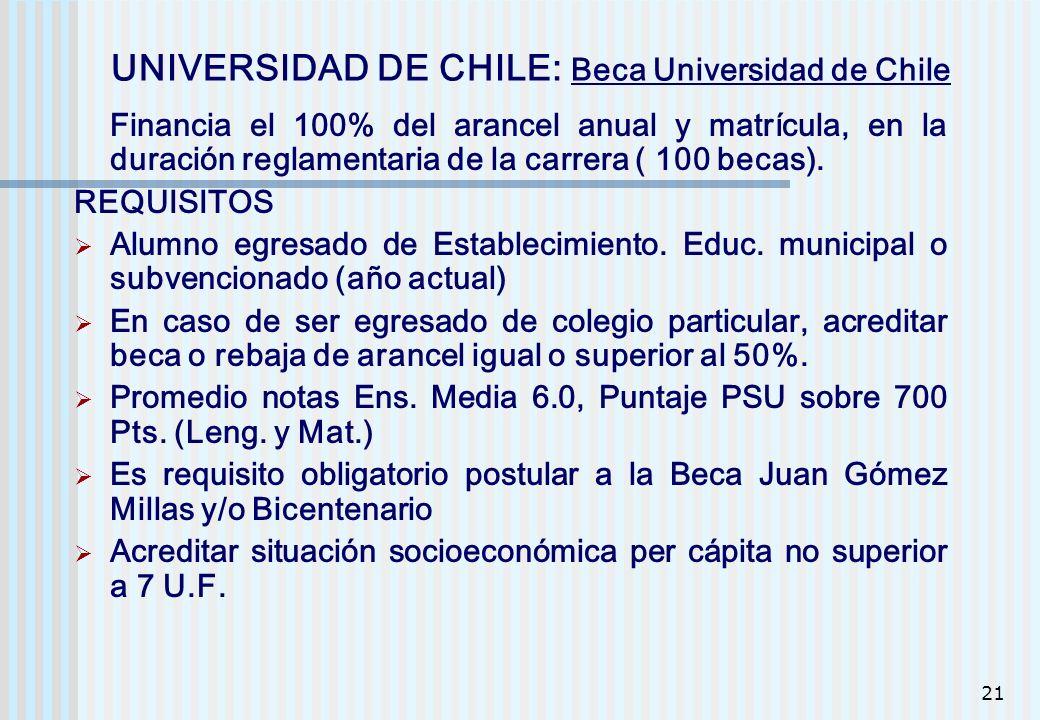 21 UNIVERSIDAD DE CHILE: Beca Universidad de Chile Financia el 100% del arancel anual y matrícula, en la duración reglamentaria de la carrera ( 100 be