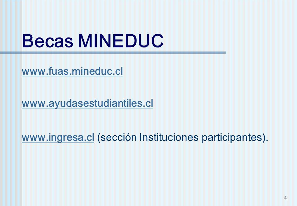 4 Becas MINEDUC www.fuas.mineduc.cl www.ayudasestudiantiles.cl www.ingresa.cl (sección Instituciones participantes). www.fuas.mineduc.cl www.ayudasest