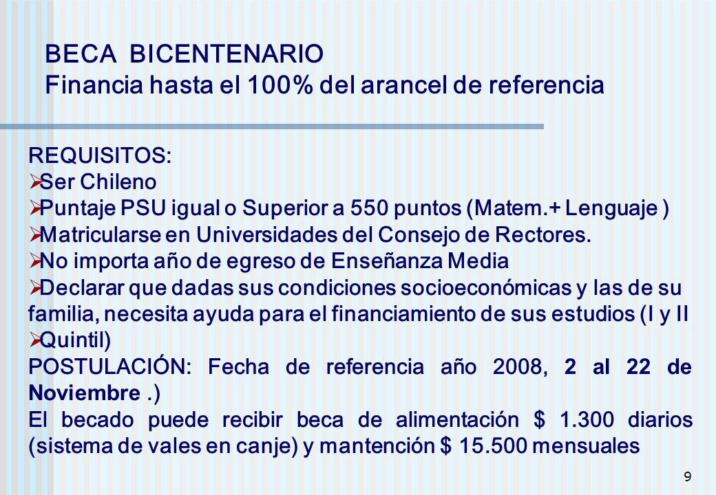 9 BECA BICENTENARIO Financia hasta el 100% del arancel de referencia REQUISITOS: Ser Chileno Puntaje PSU igual o Superior a 550 puntos (Matem.+ Lengua