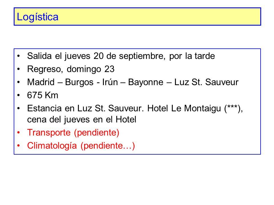 Logística Salida el jueves 20 de septiembre, por la tarde Regreso, domingo 23 Madrid – Burgos - Irún – Bayonne – Luz St. Sauveur 675 Km Estancia en Lu