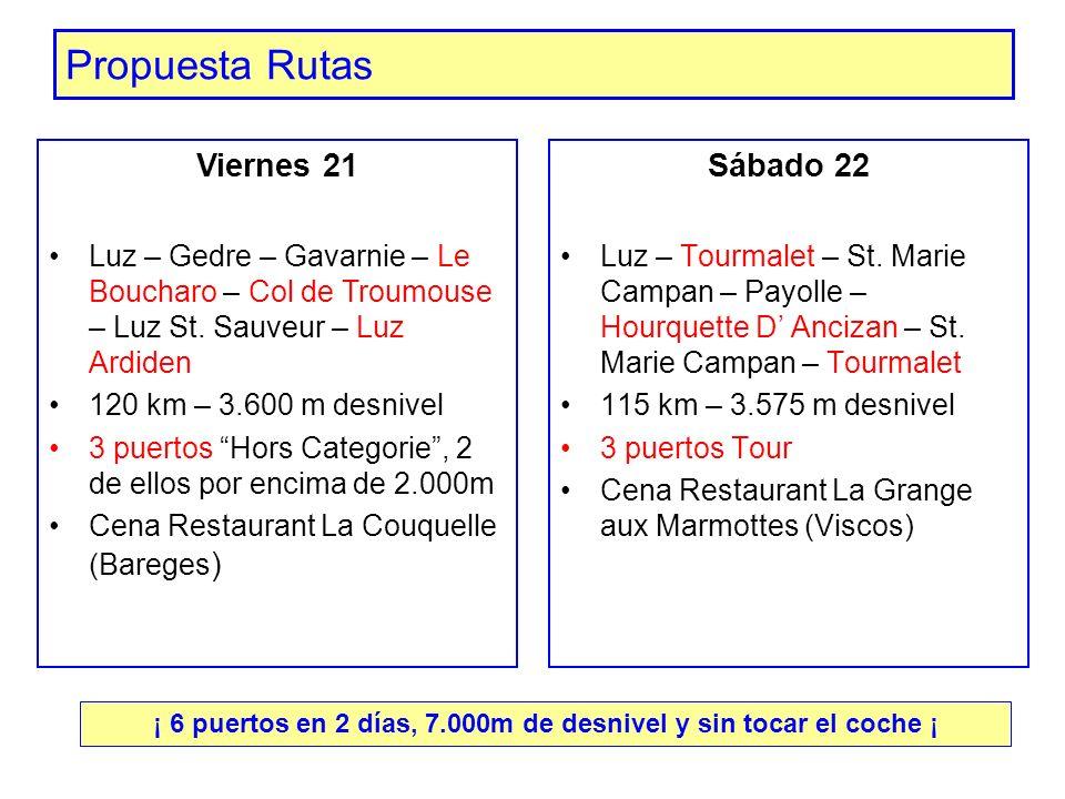 Propuesta Rutas Sábado 22 Luz – Tourmalet – St. Marie Campan – Payolle – Hourquette D Ancizan – St. Marie Campan – Tourmalet 115 km – 3.575 m desnivel