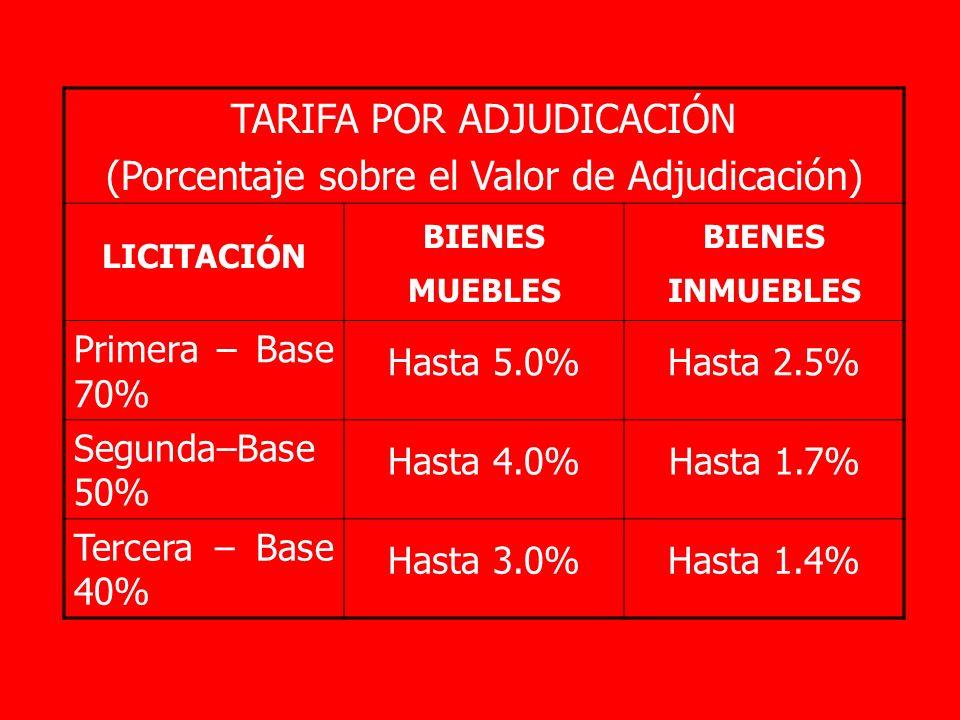 TARIFA POR ADJUDICACIÓN (Porcentaje sobre el Valor de Adjudicación) LICITACIÓN BIENES MUEBLES BIENES INMUEBLES Primera – Base 70% Hasta 5.0% Hasta 2.5% Segunda–Base 50% Hasta 4.0%Hasta 1.7% Tercera – Base 40% Hasta 3.0%Hasta 1.4%
