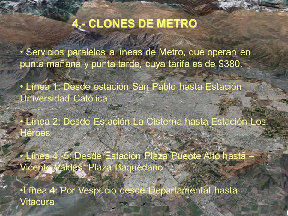 4.- CLONES DE METRO Servicios paralelos a líneas de Metro, que operan en punta mañana y punta tarde, cuya tarifa es de $380.