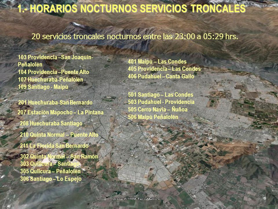 1.- HORARIOS NOCTURNOS SERVICIOS TRONCALES 20 servicios troncales nocturnos entre las 23:00 a 05:29 hrs.