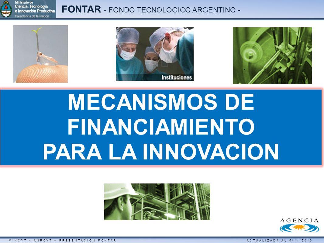 MINCYT – ANPCYT – PRESENTACION FONTAR ACTUALIZADA AL 5/11/2010 FONTAR - FONDO TECNOLOGICO ARGENTINO - MECANISMOS DE FINANCIAMIENTO PARA LA INNOVACION