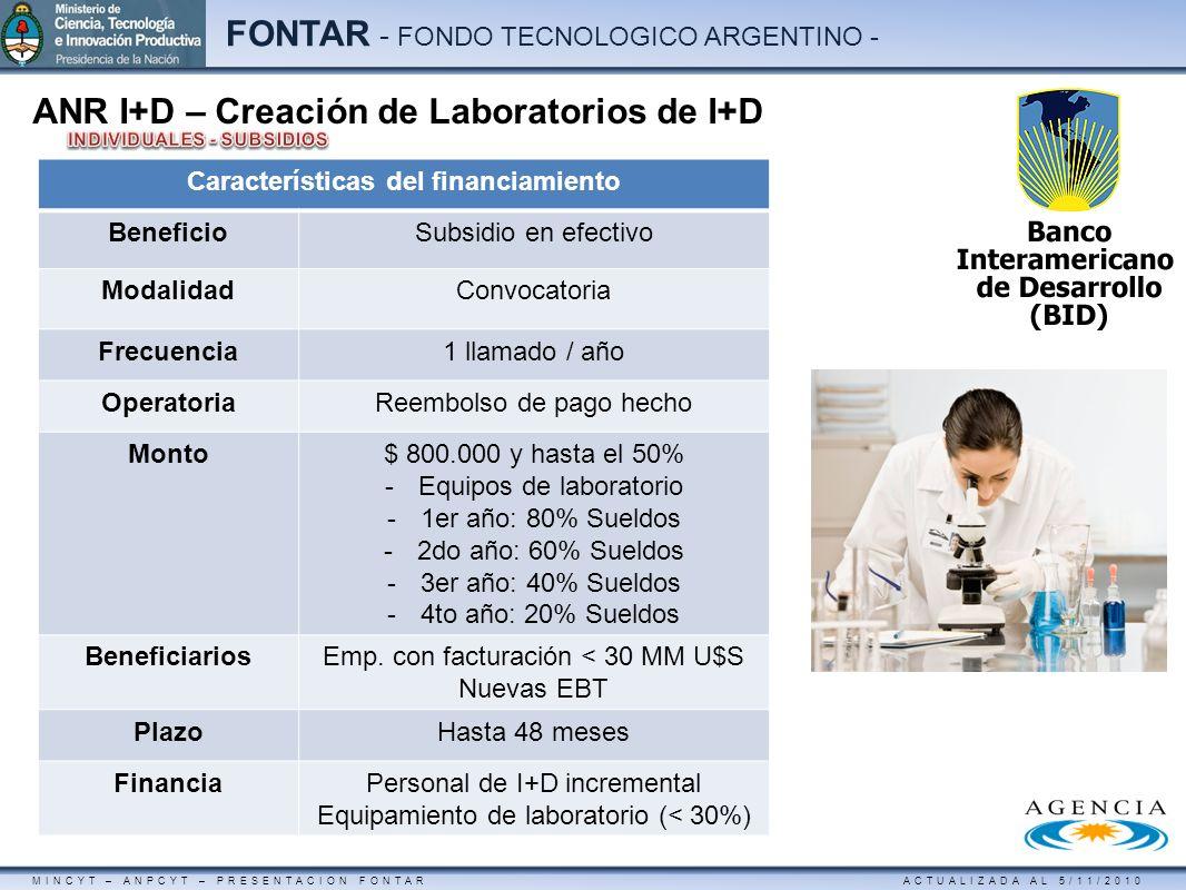 MINCYT – ANPCYT – PRESENTACION FONTAR ACTUALIZADA AL 5/11/2010 FONTAR - FONDO TECNOLOGICO ARGENTINO - ANR I+D – Creación de Laboratorios de I+D Caract