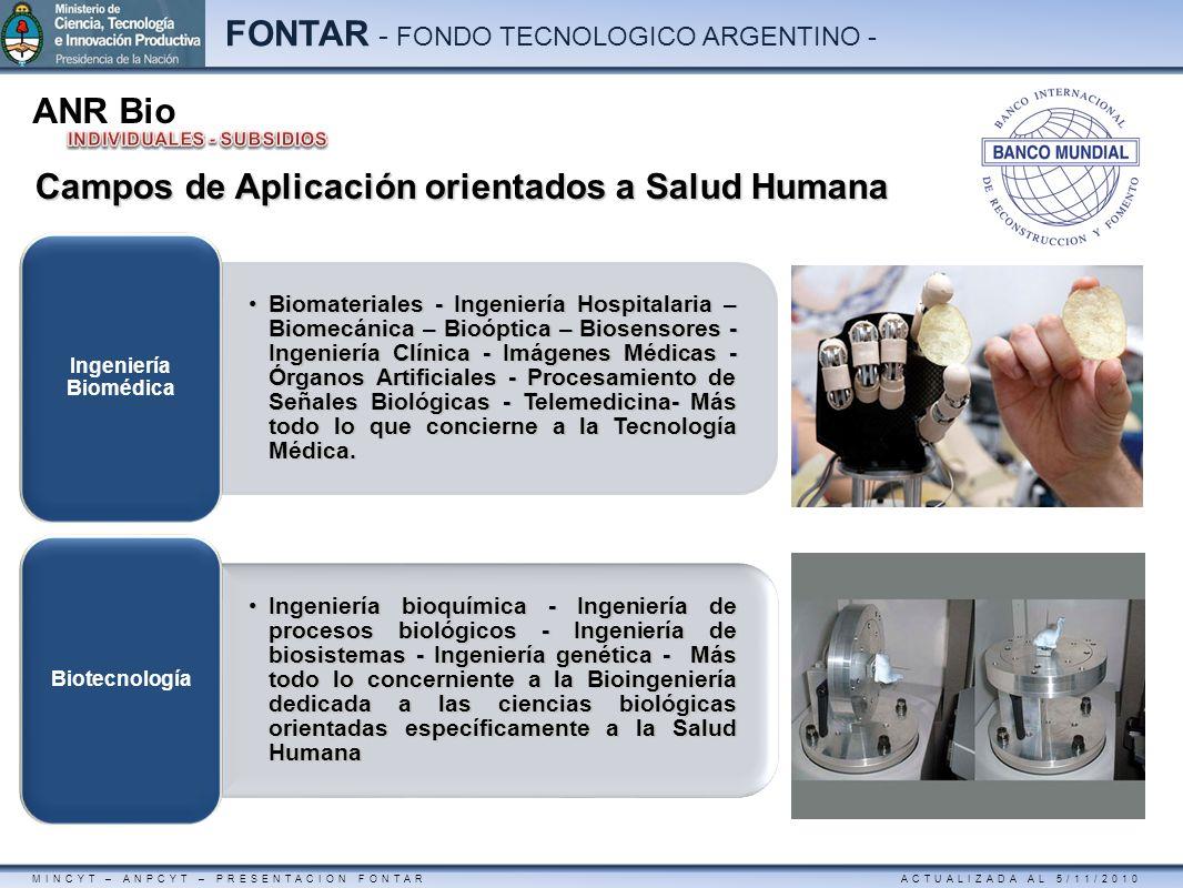 MINCYT – ANPCYT – PRESENTACION FONTAR ACTUALIZADA AL 5/11/2010 FONTAR - FONDO TECNOLOGICO ARGENTINO - ANR Bio Campos de Aplicación orientados a Salud