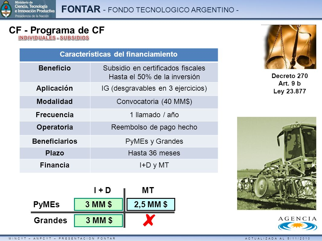 MINCYT – ANPCYT – PRESENTACION FONTAR ACTUALIZADA AL 5/11/2010 FONTAR - FONDO TECNOLOGICO ARGENTINO - I + DMT PyMEs Grandes 3 MM $ 2,5 MM $ CF - Progr