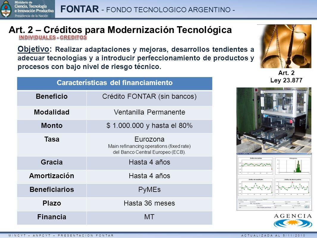 MINCYT – ANPCYT – PRESENTACION FONTAR ACTUALIZADA AL 5/11/2010 FONTAR - FONDO TECNOLOGICO ARGENTINO - Art. 2 – Créditos para Modernización Tecnológica
