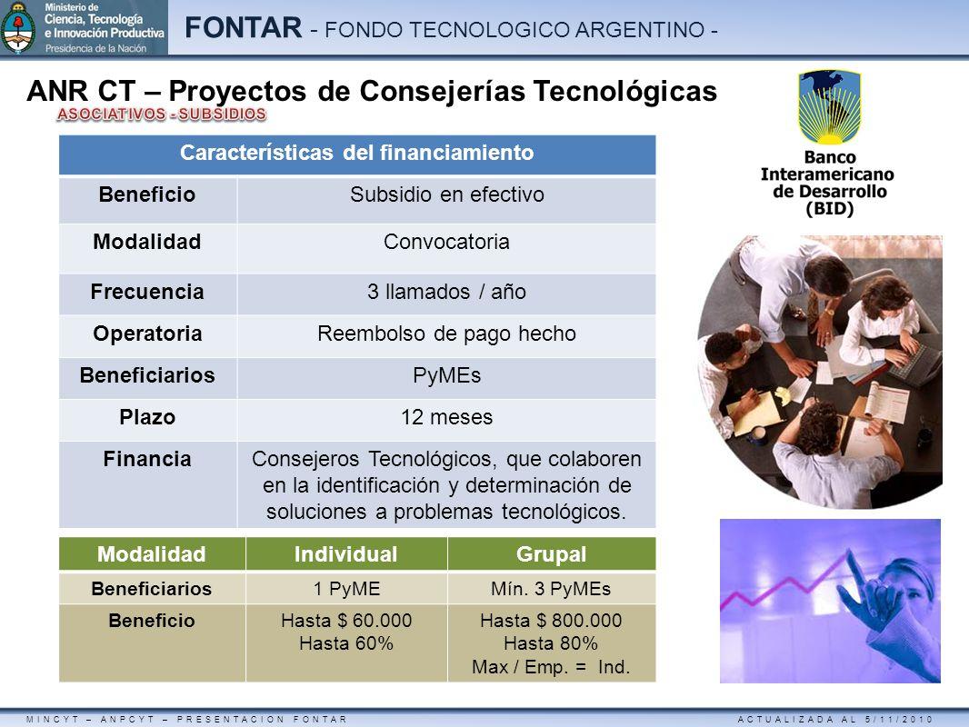 MINCYT – ANPCYT – PRESENTACION FONTAR ACTUALIZADA AL 5/11/2010 FONTAR - FONDO TECNOLOGICO ARGENTINO - ANR CT – Proyectos de Consejerías Tecnológicas C