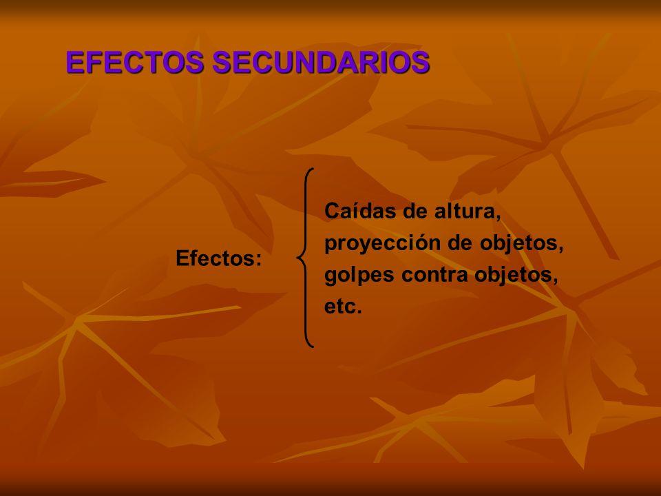 EFECTOS SECUNDARIOS Caídas de altura, proyección de objetos, golpes contra objetos, etc. Efectos: