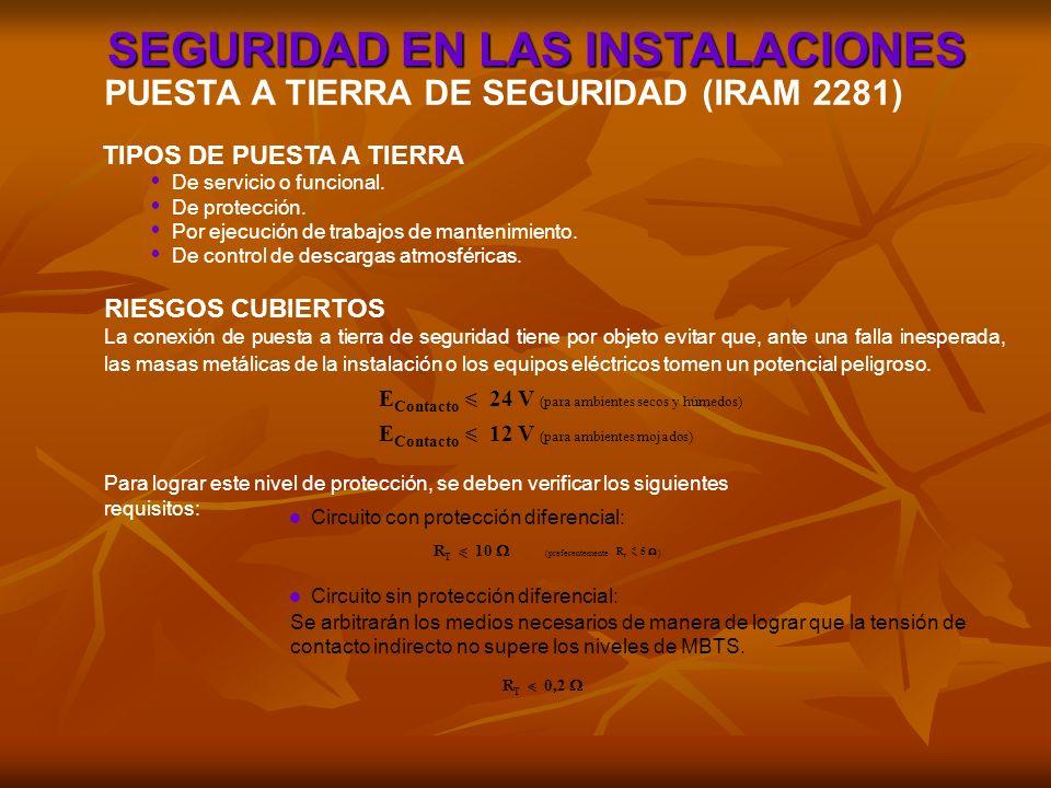 SEGURIDAD EN LAS INSTALACIONES PUESTA A TIERRA DE SEGURIDAD (IRAM 2281) De servicio o funcional. De protección. Por ejecución de trabajos de mantenimi