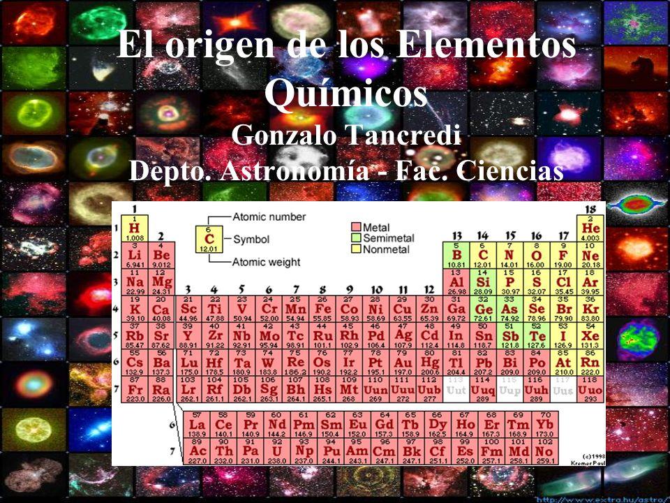 Contenido Las abundancias cósmicas Las partículas primordiales La nucleosínstesis primordial El interior de las estrellas Etapas explosivas y la formación de los elementos pesados