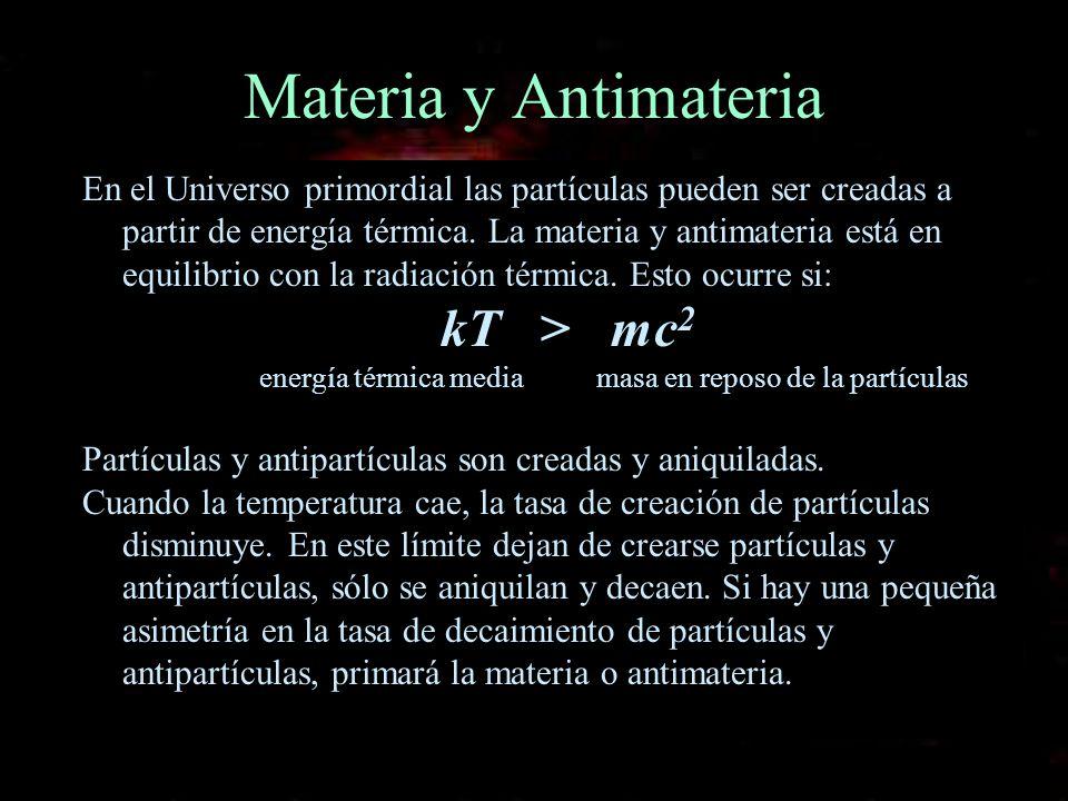 Materia y Antimateria En el Universo primordial las partículas pueden ser creadas a partir de energía térmica. La materia y antimateria está en equili