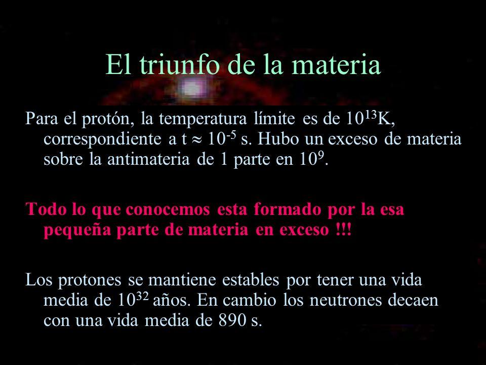 El triunfo de la materia Para el protón, la temperatura límite es de 10 13 K, correspondiente a t 10 -5 s. Hubo un exceso de materia sobre la antimate