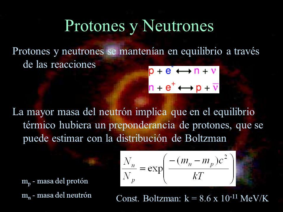 Protones y Neutrones Protones y neutrones se mantenían en equilibrio a través de las reacciones La mayor masa del neutrón implica que en el equilibrio