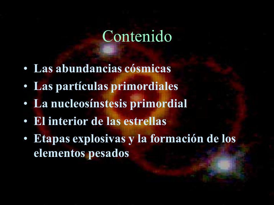 Contenido Las abundancias cósmicas Las partículas primordiales La nucleosínstesis primordial El interior de las estrellas Etapas explosivas y la forma