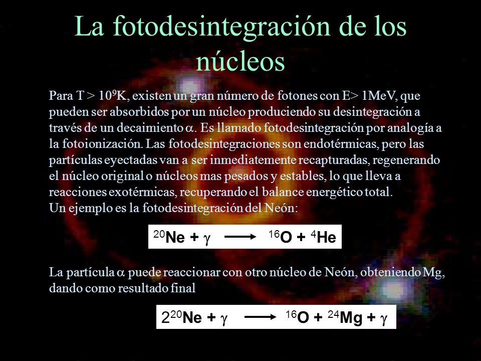 La fotodesintegración de los núcleos Para T > 10 9 K, existen un gran número de fotones con E> 1MeV, que pueden ser absorbidos por un núcleo producien